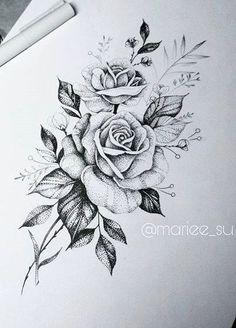 Guinea pigs Floral Tattoo Design, Flower Tattoo Designs, Flower Tattoos, 3 Roses Tattoo, Tatoo Rose, Flower Designs, Neue Tattoos, Body Art Tattoos, Sleeve Tattoos