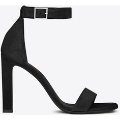 Saint Laurent Grace 105 Ankle Strap Sandal ($815) ❤ liked on Polyvore featuring shoes, sandals, heels, ankle strap high heel sandals, high heeled footwear, high heel shoes, ankle tie shoes and heeled sandals