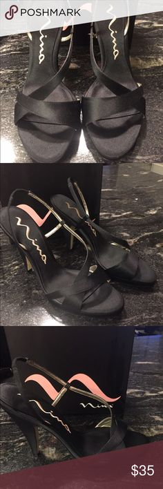 Nina Logan Black Luster shoes size 8 Beautiful black satin Nina strappy sandals. Excellent condition only sign of wear is one the soles as shown in picture. Comes in original box. Size 8 Nina Shoes Sandals