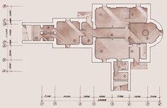 Semi-basement plan at the level -3.300 Schedule of premises: 1 — Lecture hall and library; 2 — Refectory; 3 — Baptismal room; 4 — Dean's study; 5 — Lobby; 6 — Passage; 7 — Book kiosk; 8 — WC; 9 — Switchgear room; 10 — Engineering and utility services room; 11 —WC; 12 — WC; 13 — Stockroom / План цокольного этажа на отметке -3.300 Экспликация: 1 – Лекционный зал и библиотека; 2 – Трапезная; 3 – Крестильная; 4 – Кабинет настоятеля; 5 – Холл; 6 – Коридор; 7 – Книжная лавка; 8 – Санузел;