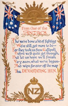 An original postcard featuring a poem 'From One of the ANZACS' during World War One sent July 1916 Anzac Soldiers, Ww1 Soldiers, Australia Fun Facts, Ww1 Pictures, Armistice Day, Off The Map, Anzac Day, Australian Curriculum, World Images