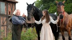 War Horse movie still.Niels Arestrup as the grandfather, two temporarily claimed war horses and Celine Buckens as Emilie. 2011 Movies, All Movies, I Movie, Awesome Movies, Movies Showing, Movies And Tv Shows, Horse Background, Horse Girl Photography, Horse Movies