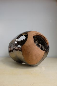 Year: Ceramic, X X A one-of-a-kind hand-built sculpture in hazel-brown stoneware partially finished in a reflective metallic glaze, fired in an electric kiln at Ceramic Artists, Stoneware, Glaze, Rings For Men, Electric, Metallic, Sculpture, Brown, Artwork