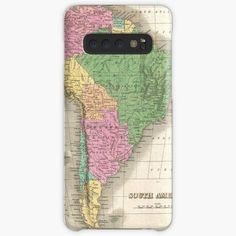 'vintage Map of South America' Case/Skin for Samsung Galaxy by ModernFaces Galaxy Design, Map Design, Iphone Wallet, Sell Your Art, Protective Cases, South America, It Works, Samsung Galaxy, My Arts