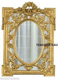 Vintage Reproduction Large Regency Gold Gilt Rococo Baroque Style Wall Mirror