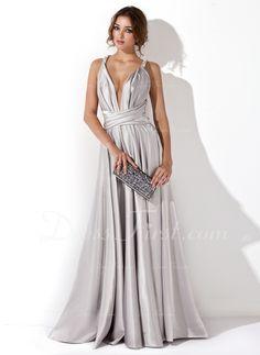 Princesový Véčkový výstřih Délka na zem Charmeuse Večerní šaty S Volán (017020657)