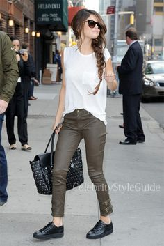 Seen on Celebrity Style Guide: Selena Gomez wore the olive Rachel Zoe Suzie Leather Pants arriving at the Late Show with David Letterman October 17 2013
