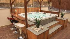 Hot Tub Portfolio - All Seasons Living - Garden Rooms & Hot Tubs Hot Tub Gazebo, Hot Tub Garden, Hot Tub Backyard, Backyard Pools, Pool Decks, Pool Landscaping, Jacuzzi Outdoor, Outdoor Spa, Outdoor Hot Tubs