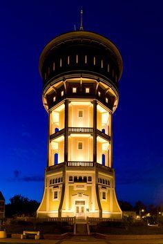 Evening view of the Water Tower (Szegedi Viztorony) in Saint Stephen's (Szent Istvan) Square in Szeged, Csongrad County, Hungary