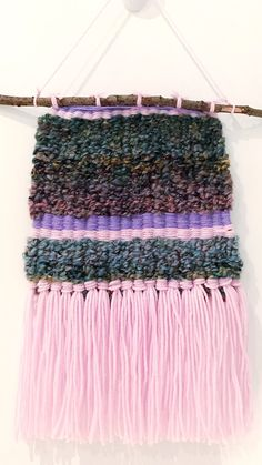 Woven tapestry, textured wall hanging, pink woven wall hanging, purple woven wall hanging, blue woven wall hanging, boho decor, tapestry