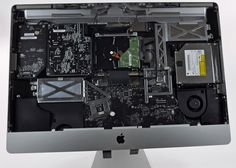 We're doing a teardown of the newest (and largest) iMac in Apple's line-up -- the Intel iMac! We disassembled this iMac on October Want. Thunderbolt Display, Tech Branding, Drive Bay, Internal Design, Memory Module, Design Language, Apple Products, Diy Kits, Quad