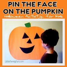 Pin the Face on the Pumpkin. Fun Halloween Activity for Kids!