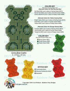 GUMMY BEAR COASTER SET by LORI PRICKETT*RAINBOW PONY DESIGNS 2/3