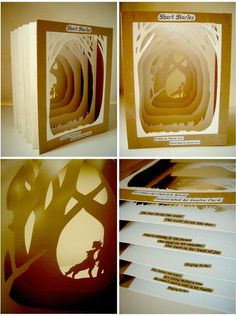 A tunnel book based on the song 'Short Stories' by Patrick Wolf Height: Width: Depth: approx. I hope I put this in the right category YT vid of Short Stories if you haven't liste. Diy Paper, Paper Art, Paper Crafts, Kirigami, Tunnel Book, Paper Engineering, Book Sculpture, Paper Book, Book Projects