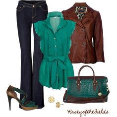 Outfit# Top offers a pop of turquoise and a ton of frill with the ruffles and bow. Leather jacket levels down the frill a bit and adds a more daring feel. Shoes are awesome and the purse is great.