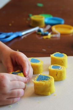 Playdough sushi for  A Pair of Red Clogs Grandfather's Journey