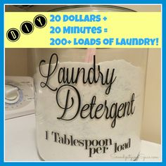The BEST homemade laundry detergent!  I do about 4 loads of laundry a week and this $20 recipe has lasted me a full year so far!!!  #diy #laundry
