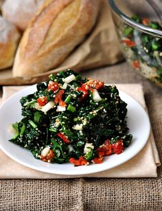 kale tabouli with quinoa - I'd skip the tomatoes and use red peppers  [potential]