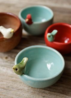 "Adorable! ""Sweet Little Green Bird on a Tiny Aqua Blue Bowl"" Handmade by Tasha McKelvey $30"