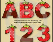 Aisne's Creations Digital Alphabet & Numbers Clip Art by AisnesCreations Alphabet And Numbers, Alphabet Letters, Party Items, Fabric Painting, Party Printables, Word Art, Digital Scrapbooking, Handmade Items, Strawberry