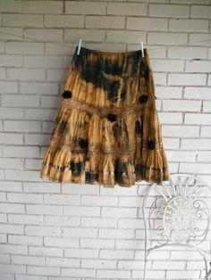 boho prairie skirt rust broom skirt cottage chic by ShabbyRoad