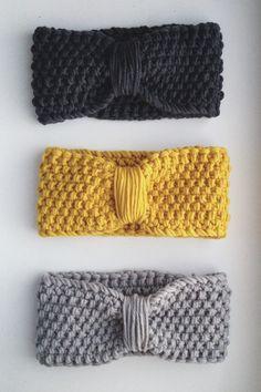 Knitting headband yellow gray