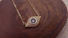 CZ Evil Eye Necklace. Gold Protection Necklace. Gold Layering Necklace. by EveilleJewelry on Etsy