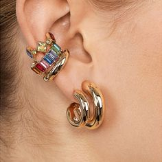 "colorful and fun ear cuff, size: wide, sold individually. shown with our ""Colorful Huggie Earrings"", ""Double Semi-hoop Earrings"", ""Gold Tone Ear Cuff Set"" and ""Small Pearl Ear Cuff Set"" check our other items for earrings/ear cuffs shown. Cuff Jewelry, Cuff Earrings, Clip On Earrings, Boho Jewelry, Women Jewelry, Jewellery, Girls Necklaces, Jewelry Trends, Crystal Necklace"