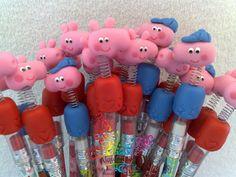 Lápis com Ponteiras Peppa Pig e George Pig.