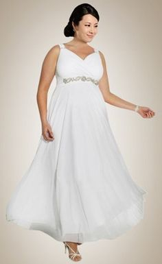 Fashionable V-neck Beaded Chiffon Plus Size Wedding Dress