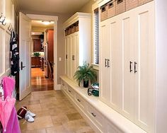 Design idea for very small mudroom off garage.  Entry Design, Pictures, Remodel, Decor and Ideas - page 65