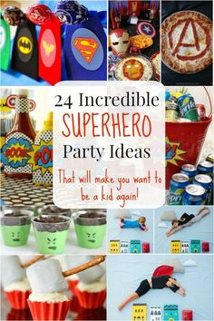 """Kids (and even adults) who love superheroes will fall in love with these incredible superhero party ideas that will bring out the kid in everyone! Try some for your little superhero's next party! 24 Incredible Superhero Party Ideas!  1. Condiments and beverages that really """"POP!"""" 2. Comic strip cones to put all sorts of …"""