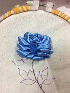 Wonderful Ribbon Embroidery Flowers by Hand Ideas. Enchanting Ribbon Embroidery Flowers by Hand Ideas. Embroidery Supplies, Embroidery Kits, Embroidery Stitches, Embroidery Designs, Ribbon Embroidery Tutorial, Silk Ribbon Embroidery, Hand Embroidery Patterns, Ribbon Art, Ribbon Crafts