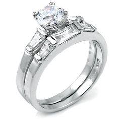 Wedding Ring Set .925 Silver 1.25 ct cz Brilliant Round