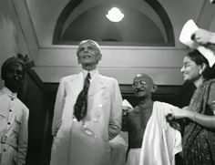 founder of pakistan quaid e azam muhammad ali jinnah with the founder of india mohandas gandhi