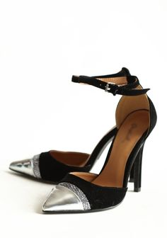 Midnight Mystery Heels  39.99 at shopruche.com. These luxurious black velvet heels feature a metallic silver toe and a sequined accent panel. Finished with an adjustable ankle strap with a silver-toned buckle for vintage charm.4