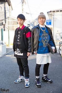awesome style ... Wataru (left, 22 years old) & Hirotaro (right, 21 years old, student) | 22 February 2015 | #couples #Fashion #Harajuku (原宿) #Shibuya (渋谷) #Tokyo (東京) #Japan (日本)