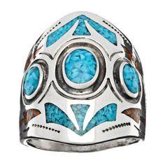 Bague Navajo « inlay », incrustation de turquoise et corail dans résine, argent 925/1000, largeur : 2,5cm | Harpo Paris #bagueturquoise #navajo