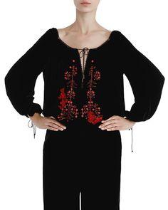 Ie din catifea brodată și aplicații de cristale și dantelă Embroidered Lace, Editorial Fashion, Blouse, Folk, Traditional, Handmade, Crafts, Women, Hand Made