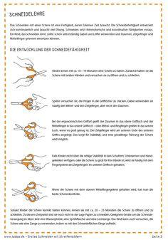 Schneidelehre: Das Schneiden mit einer Schere ist eine Fertigkeit, deren Erlernen Zeit braucht. Die Schneidefertigkeit entwickelt sich kontinuierlich und braucht viel Übung. Schneiden setzt feinmotorische und koordinative Fähigkeiten voraus. Ein Kind, das schneiden lernt, sollte schon selbstständig Gabel und Löffel verwenden und Daumen, Zeigefinger und Mittelfinger getrennt einsetzen können.