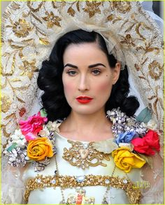Dita Von Teese wearing a dress by Christian Lacroix