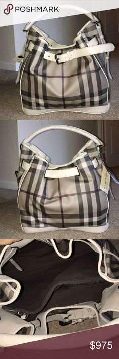 Burberry Smoked Check Walden Medium Hobo PVC with leather trim handbag in printed smoked check design. Features a belted detail and inside compartments. 1 middle zipper with 2 pockets inside the compartment. Also has a back zipper pocket. Worn only a number of times, very minimal wear as shown. Original tags are included with dust bag Burberry Bags Hobos