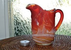 Pitcher Slag Ruby Red Imperial Glass Windmill End of Day by pluckydotcollections on Etsy
