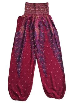 Red Peacock Feather Harem Pants