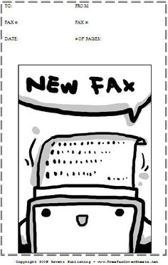 A Cute Cartoon Robot Spits Out A Fax On This Printable Fax Cover