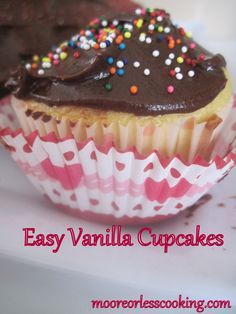 Readers have asked me for a Vanilla Cake or Cupcake recipe that isn't complicated and a lot of steps. This recipe is easy to make and not so time consuming. My kids love Vanilla Cupcakes with Choco...