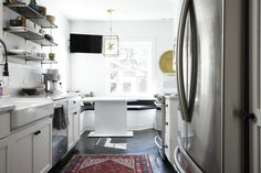 Dream Kitchen Tour with open shelving full height quartz backsplash and countertop. For more visit Galley Style Kitchen, Kitchen Design, White Kitchen Inspiration, Floor To Ceiling Cabinets, Quartz Backsplash, Kitchen Banquette, Style Pantry, Butcher Block Countertops, Kitchen On A Budget