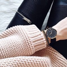 MINIMAL + CLASSIC Leather Pants and Knitted beige pullover. Black watch