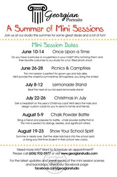 Our summer mini-session schedule!