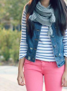 Denim vest, stripes, booties